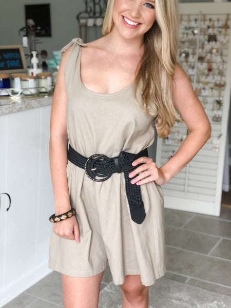 Likely Linen Romper - Tan