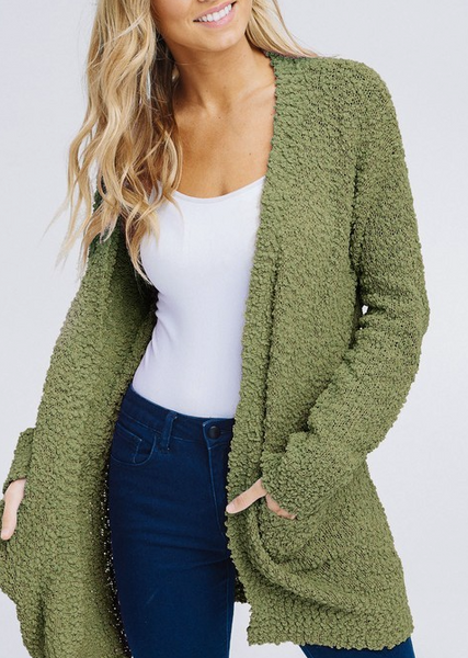 Keep Me Extra Cozy Cardigan - Olive