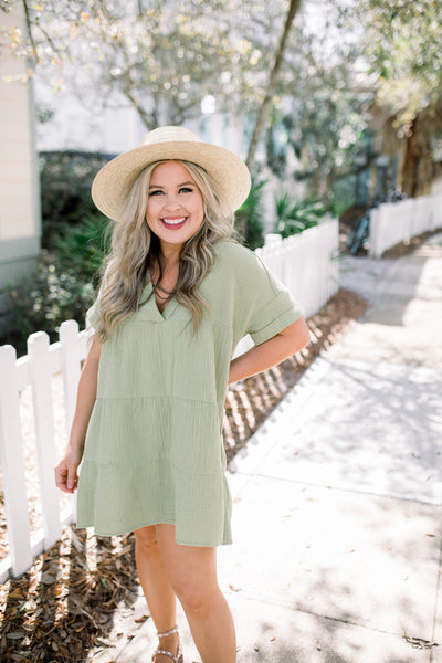 Tiki Torch Dress - Lime