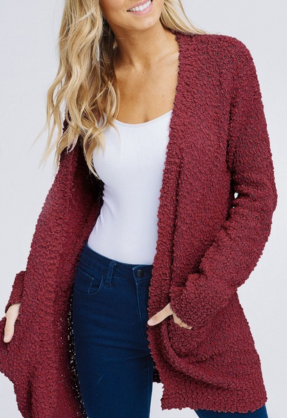 Keep Me Extra Cozy Cardigan - Maroon