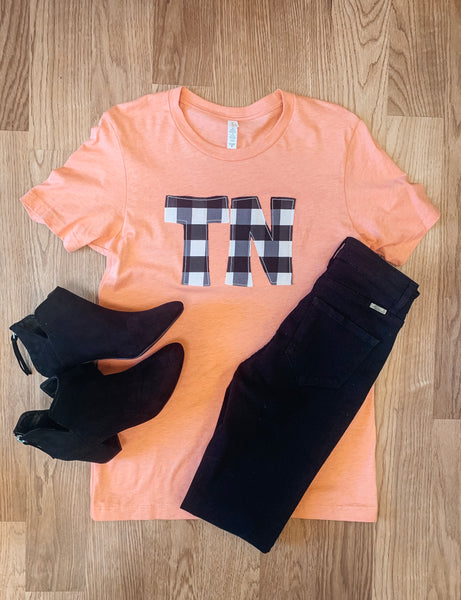 TN Checkered Tee - Coral
