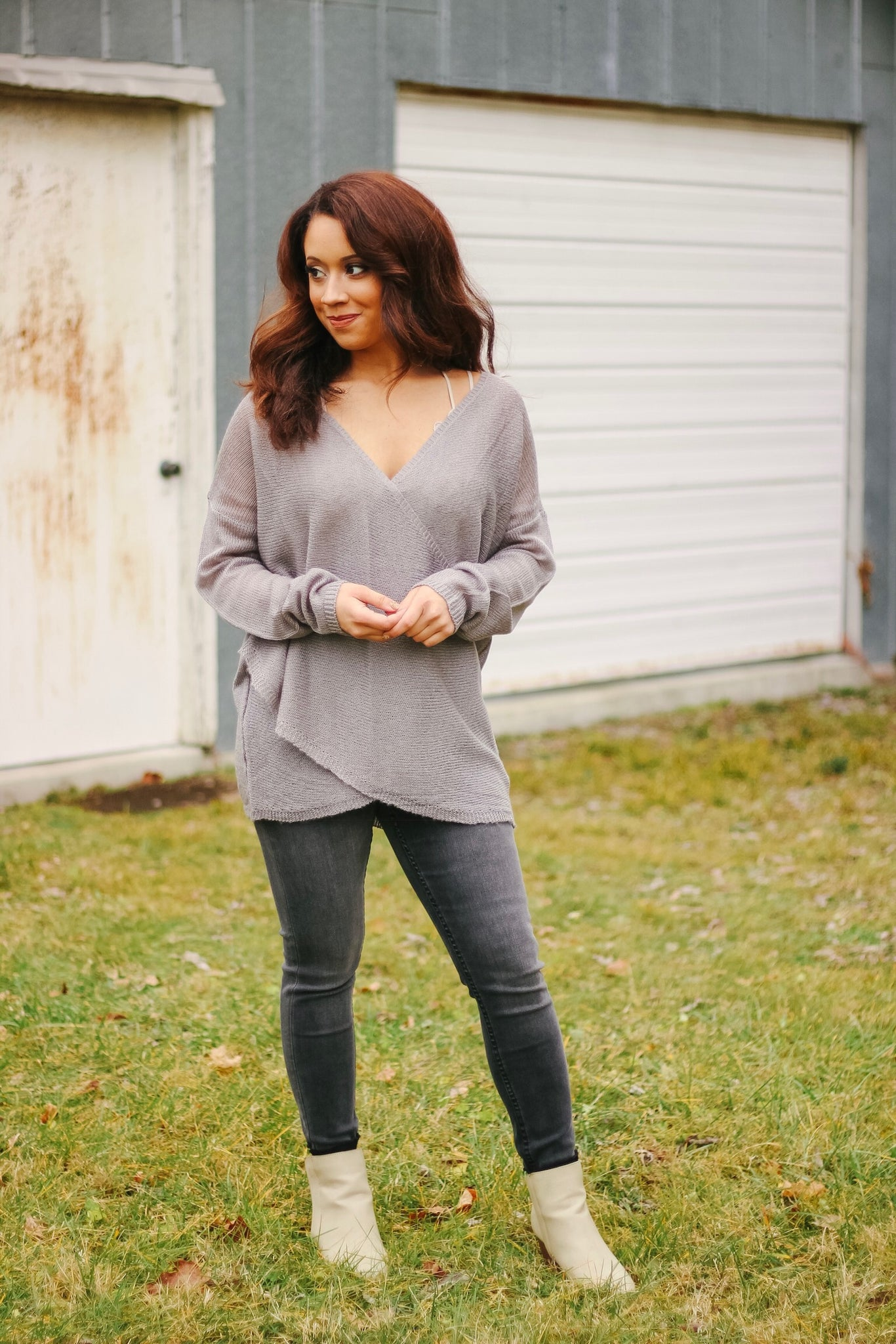 Crossing Paths Top - Grey - Bates Boutique
