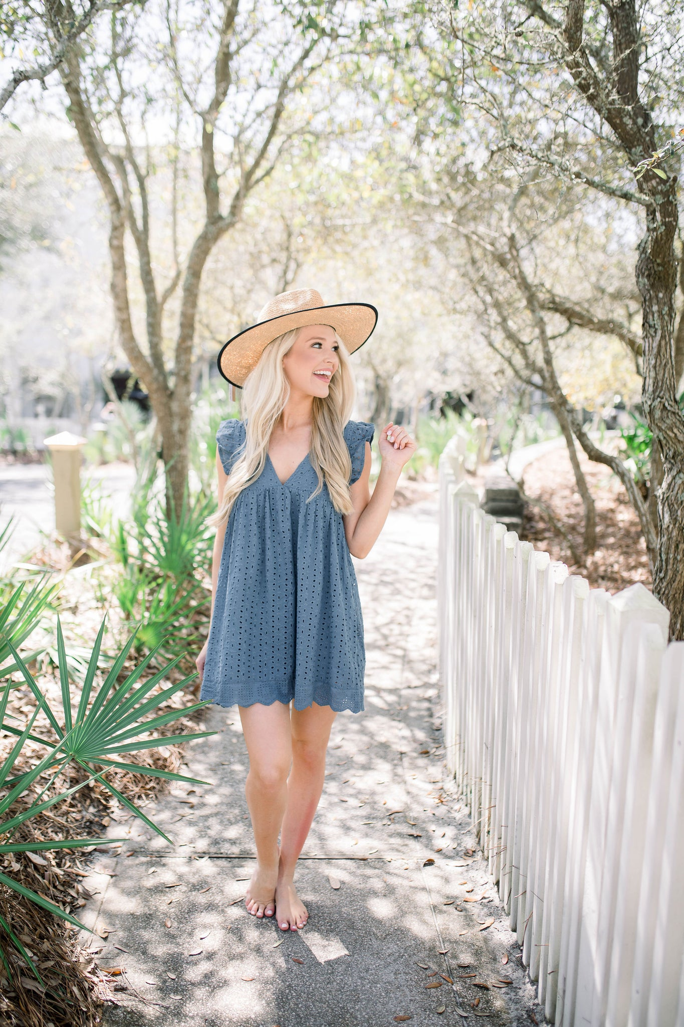 Clear Waters Romper - Steel Blue