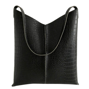 Fashion leather solid color crocodile pattern versatile shoulder wallet Embossing Women bags genuine leather black travel Mar 7
