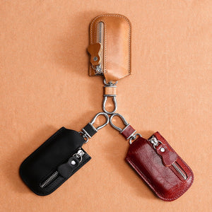 Genuine Leather Car Key Bag Case Vintage Pocket Pouch
