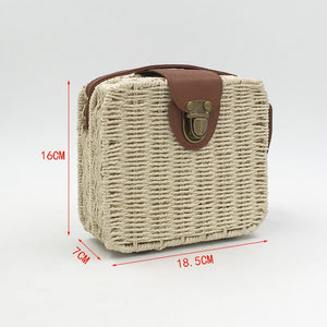 Hand woven Candy Color Women Straw Bag Ladies Small Shoulder Bags Bohemia Beach Bag Crossbody Bags Travel Handbag Tote