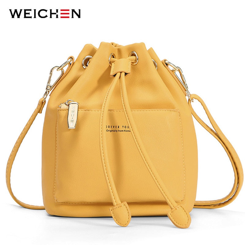 Fashion Bucket Shoulder Bag Women Drawstring Crossbody Bag Female Messenger Bags Ladies Synthetic Leather Handbag