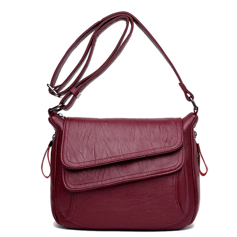 Winter Style Soft Leather Luxury Handbags Crossbody For Women 2019