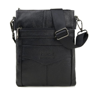 Retro Men Genuine Leather Shoulder Casual Zipper Crossbody Bags