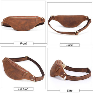Genuine Leather Waist Packs Men Travel Bag Phone Pouch
