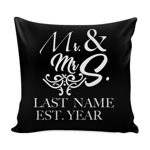 "Personalized Husband & Wife, Wife & Wife, Husband & Husband Throw Pillow Cover - 18"" x 18"""