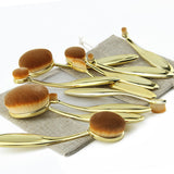 Rose Gold 10 pcs/5 pcs Oval Brushes