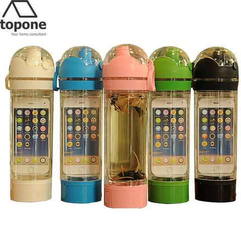 Portable Leak Proof Water Bottle for Phone Holder Listen Music