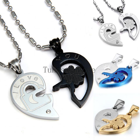 "Fashion Valentine ""Love You"" lock and key couples necklace set"