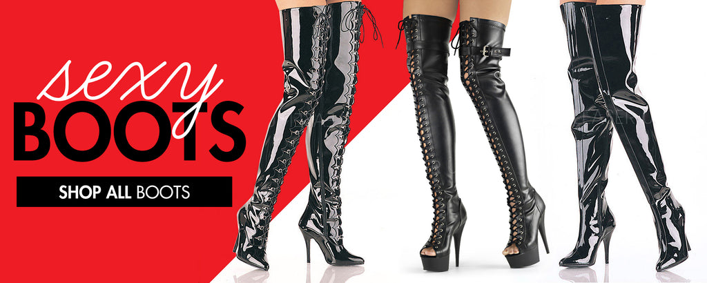 Patent Leather Thigh High Sexy Stiletto Heel Boots at Sexyshoes.com