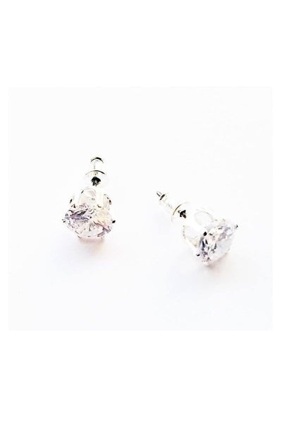 3/8 Inch Stud Earrings-Clear