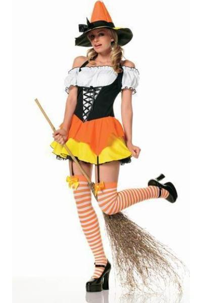 3Pc Kandy Korn Witch Costume-Multi
