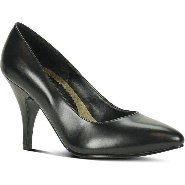 8902-Wide Classic Pump | Black Faux Leather