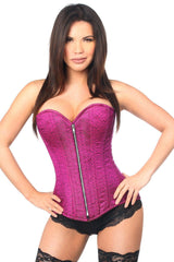 Top Drawer Two-Tone Fuchsia Brocade Steel Boned Overbust Corset
