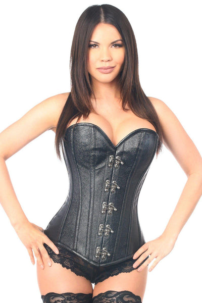 Top Drawer Plus Size Black Faux Leather Steel Boned Corset w/Clasps