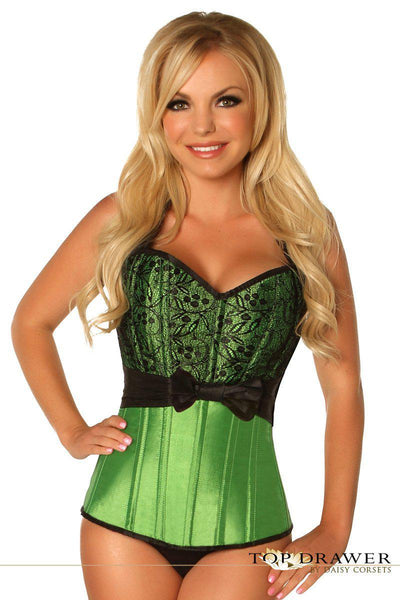 Top Drawer Green Lace & Bow Halter Steel Boned Corset