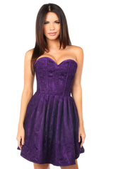 Top Drawer Steel Boned Plum Lace Empire Waist Corset Dress