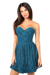 Top Drawer Steel Boned Dark Teal Lace Empire Waist Corset Dress