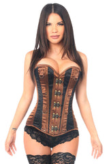 Top Drawer Brown/Black Steel Boned Corset w/Clasps & D-Rings