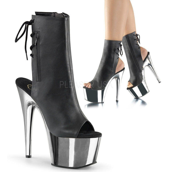 ADORE-1018 Platform Boot  | Black Faux Leather