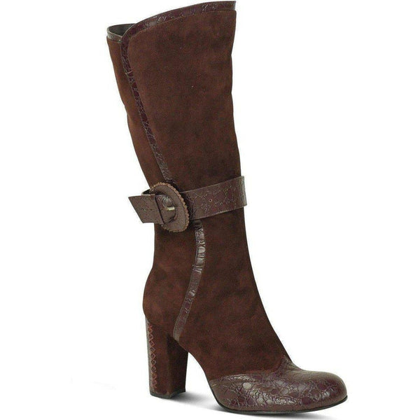 Baby Doll Toe Lace Heel Boot-Brown