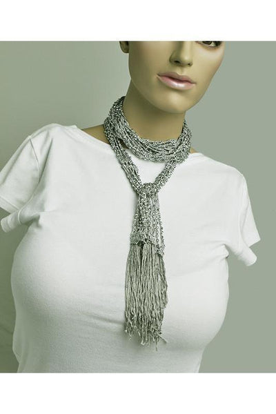 Embellished Scarf-Grey