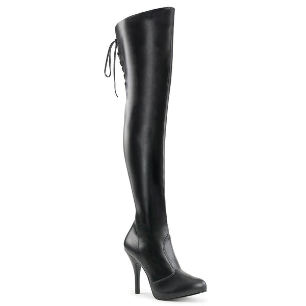 EVE-312 Thigh Boot | Black Faux Leather