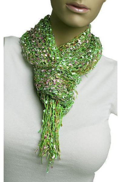 Pebbled String Scarf 62X26-Light Green