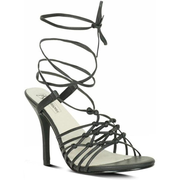 Sexy-9721 Strappy Leg Wrap Sandal | Black Leather