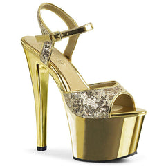 SS-SKY-310SQ Platform Sandals | Gold Sequins-SEXYSHOES.COM