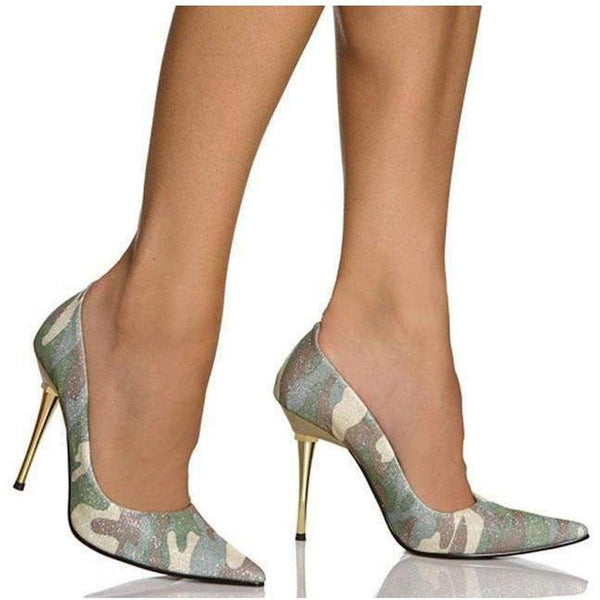 Ultra Thin Metal Stiletto - Gold Camo