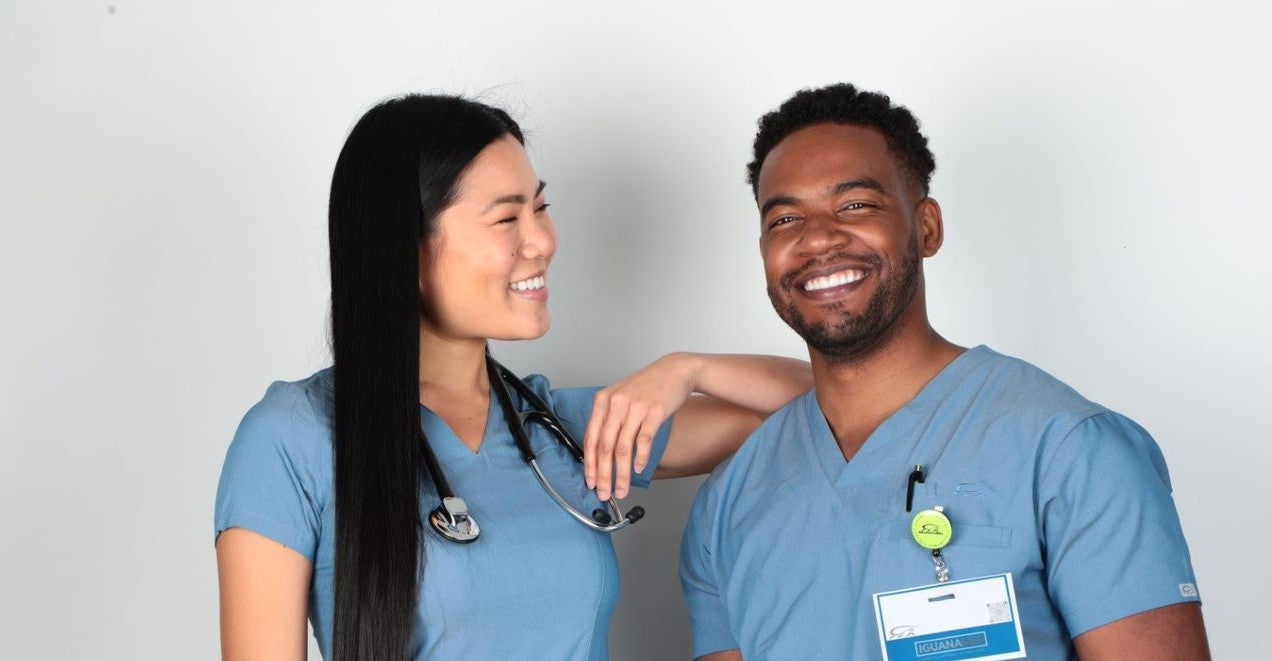 Healthcare professionals wearing matching scrub tops