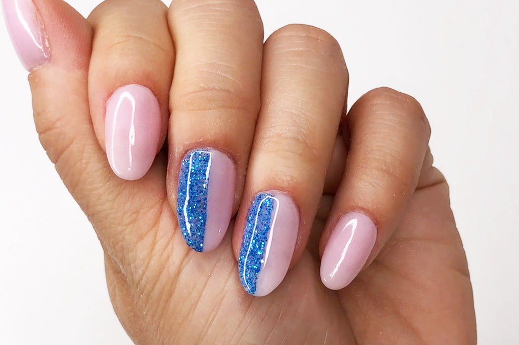 Pink and blue dip nails Blue and pink nails Colorblock dip nails Colorblock nails