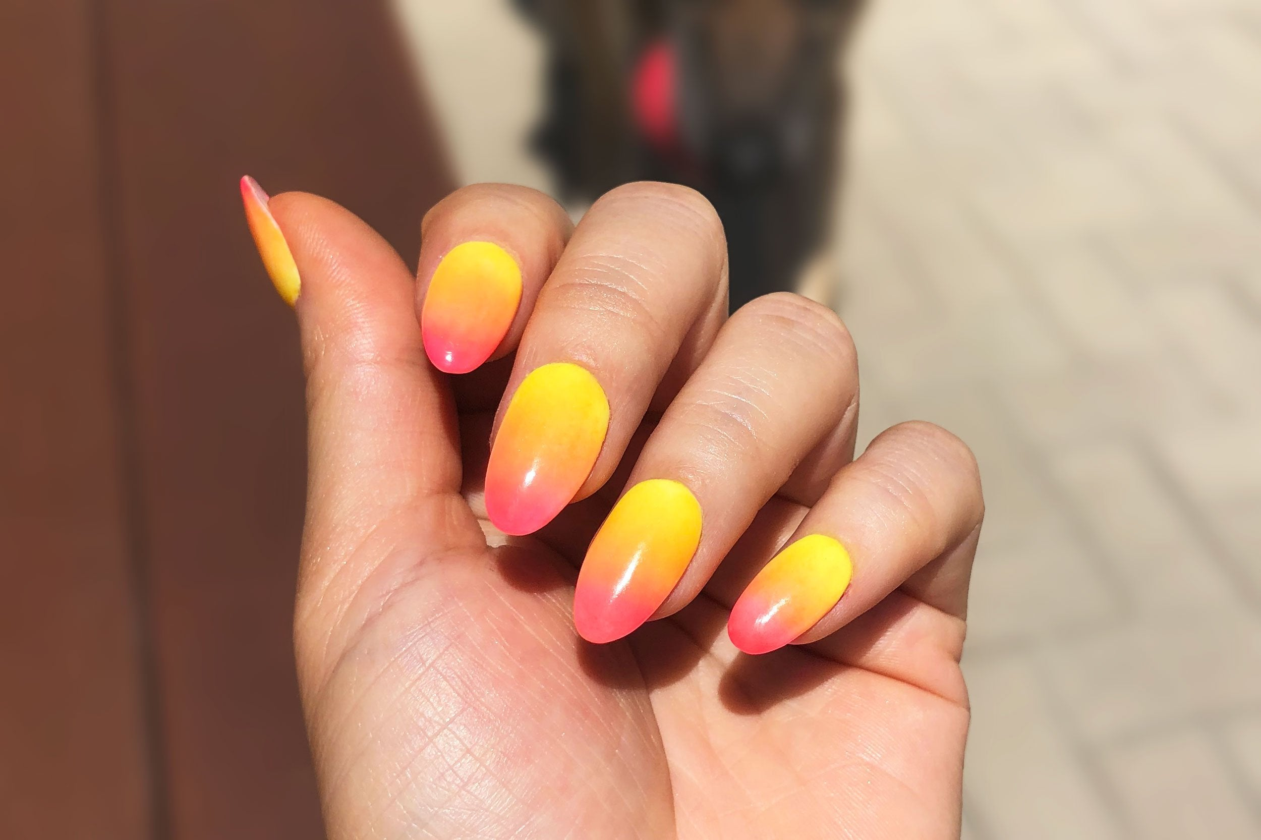 summer sunset dip nails