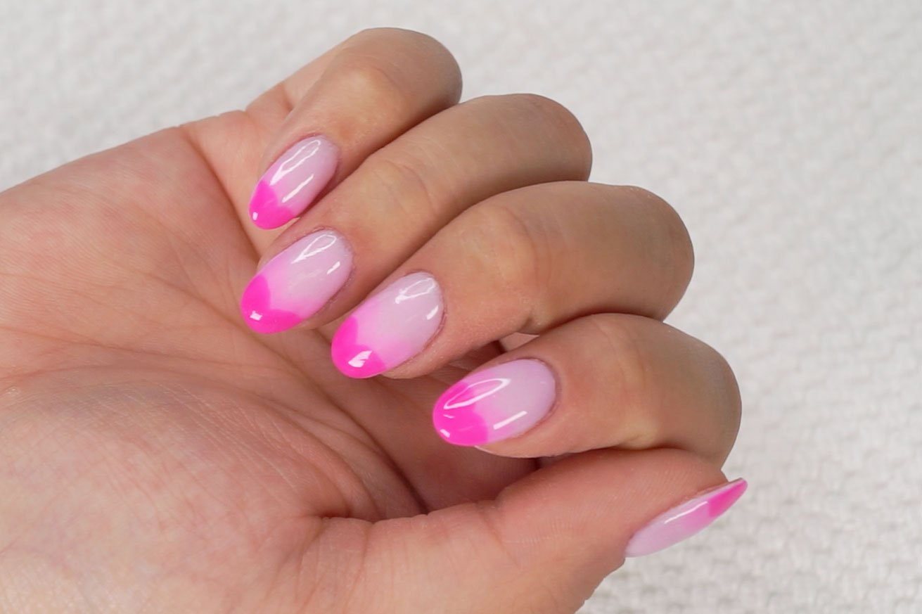 Pink heart French tips
