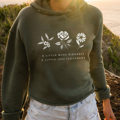 A Little More Kindness A Little Less Judgement - Athletic Crop Hoodie