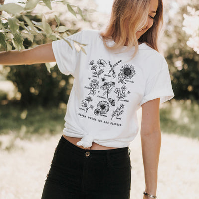 Bloom Where You Are Planted Botanical Flower - Eco Tee