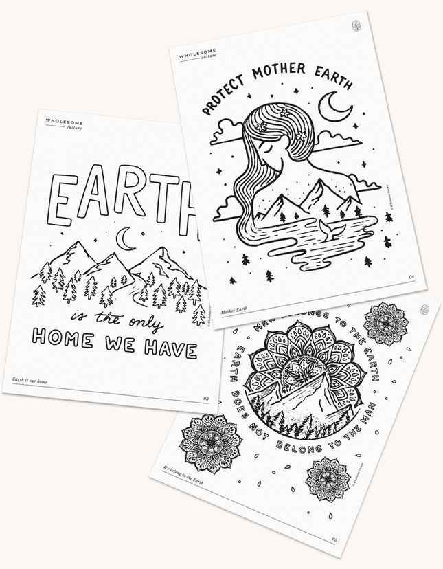 Wholesome Culture Printable Coloring Book - Earth