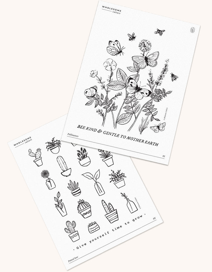 Wholesome Culture Printable Coloring Book - Garden