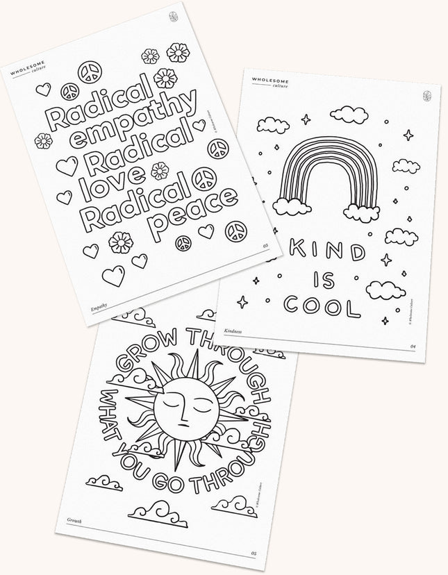 Wholesome Culture Printable Coloring Book - Kindness