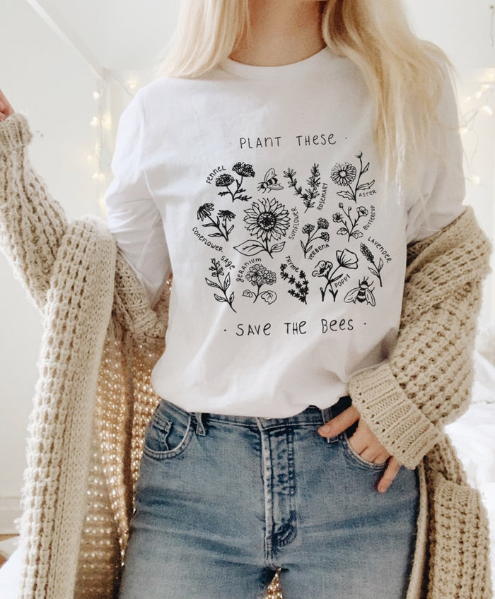 Plant These, Save The Bees - Long Sleeve Tee