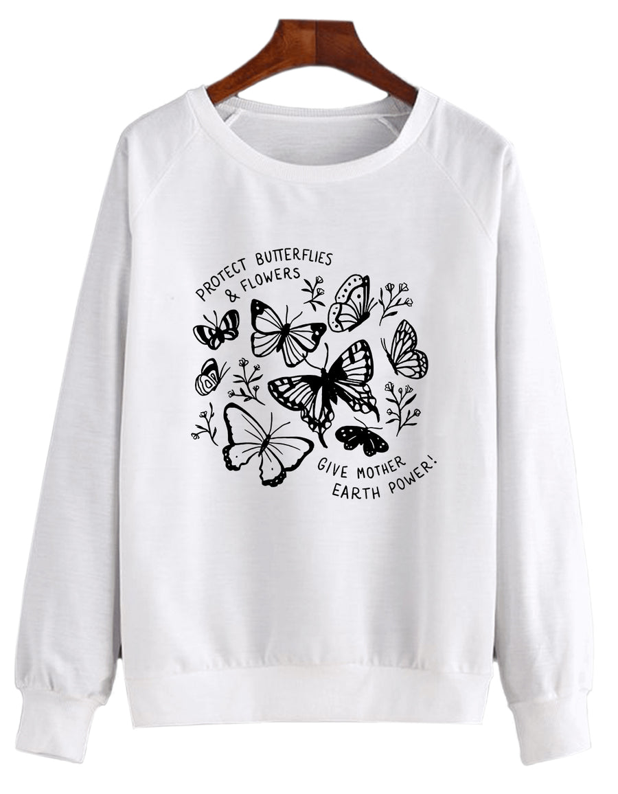 Protect Butterflies & Flowers Give Mother Earth Power - Crew Sweatshirt