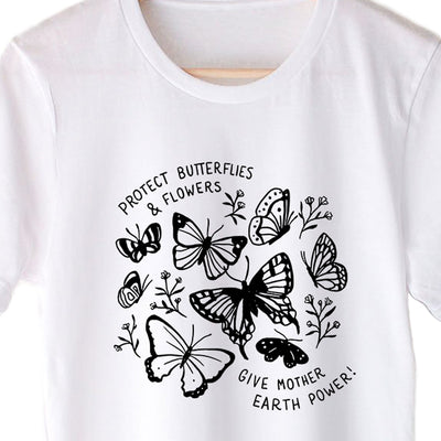 Protect Butterflies & Flowers Give Mother Earth Power - Eco Tee