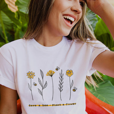 Save A Bee Plant A Flower. Colored - Eco Tee