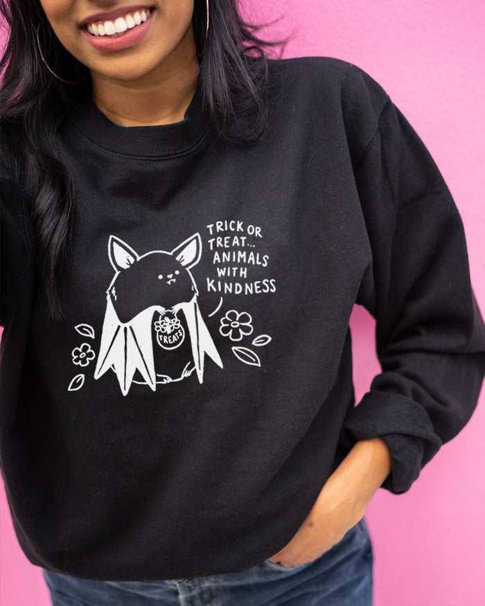 Trick Or Treat Animals With Kindness - Cute Bat - Crew Sweatshirt